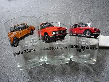 vintage shot glasses aston db6 mercedes 230 sl alfa 2600