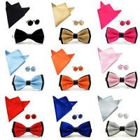 Men Fashion Satin Bow Tie Bowtie Handkerchief Pocket Square Hanky Cuff Link Set