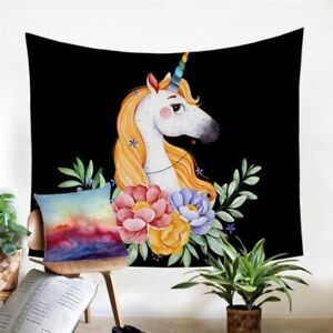 Unicorn Animal Floral Wall Tapestry Hanging Throw Cover Home Room Decoration
