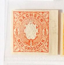 1863 SACHSEN MiNr 15 a P, ½ Ngr. orangerot ungezähnter Probedruck v Rand selten!