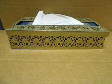 Vintage Hollywood Regency Style Metal Filligree  Floral Tissue Box Holder