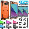 For Samsung Galaxy J3 Emerge/Prime/Luna Pro Hybrid Case + Glass Screen Protector