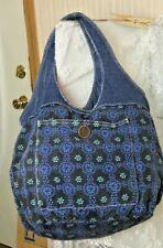 Jumbo Denim Tote Bag Shoulder Bag Blue Floral with Polka Dot Trim Boho Hippy Chi