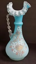 Satin Blue Glass Hand Painted Enamel Floral Twist Handle Ewer Pitcher Antique