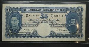 Australian 1941 Five Pound, £5, Armitage McFarlane Banknote R46 'R70 428115'