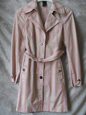 LAUNDRY SHELLI SEGAL STRIPED PINK, GREEN & WHITE TRENCH COAT JACKET SIZE 4