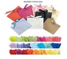 Boutique Shop Ribbon Tie Gift Bags Rope Handle Events Bag & Tissue Wrap
