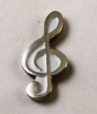 Metal Enamel Pin Badge Brooch Treble Clef Chrome Musician Musical Music Player