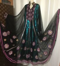 Tall Fancy Embroidered black Dress Caftan Maxi Ethnic Gown Hand Painting maxi