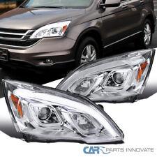 For 07-11 Honda CR-V CRV Clear Projector Headlights LED Lamps Chrome Pair