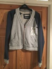 SOULCAL & CO Ladies Pale Grey/Navy Raw Edge Logo Short Zipped Cardigan Size 8