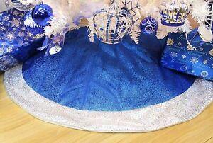 Santa's Gems Christmas Decorations Tree Skirt 48 Inch, Blue
