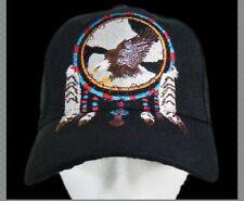 BLACK HAT BASEBALL DREAM CATCHER EAGLE FEATHER NATIVE INDIAN CHAPEAU CASQUETTE