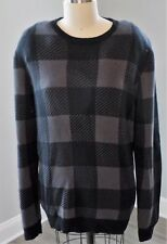 NORDSTROM 1901 MENS SWEATER BLACK / GRAY CHECKERED CREW NECK XL - NWT