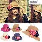 Fashion Summer Women Beach Sun Hat Flower Elegant Brim Floppy Travel Straw Cap