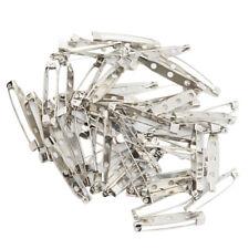 50pcs Brooch Badge Findings DIY Tool Safety Pins Bar Pin Craft 3.5cm Silver