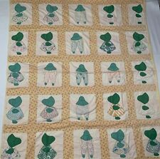 "Handmade Sunbonnet Sue Quilt Feedsack 1930"" Hand Stitched Appliqued 64""x74"""