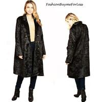 Retro Black Goth Steampunk Lined Oversized Velvet Longline Jacket Coat S M L XL