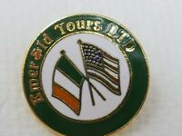 Vintage Enamel Metal Irish Flags Emerald Tours LTD Pin