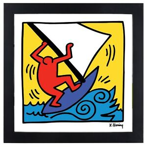 Keith Haring WIND SURFING Blue Boat 12x12 Framed Giclee Print **SALE