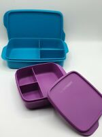 ⚡Tupperware⚡ to Go Lunchbox 1L dunkeltürkis+550 ml lila mit Trennwand Brotbox