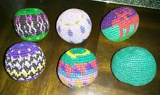 Set of 6 Guatemalan knitted Hacky Sack Footbags
