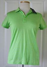 $90 NWT Womens Ralph Lauren Golf Green Striped Tailored Fit Knit Polo Shirt S