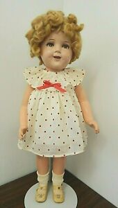 """Ideal SHIRLEY TEMPLE Vintage 24"""" Composition Doll w/Good Body, Cracked Face"""