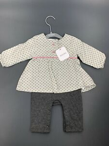 Absorba Baby Girl 0-3 Months Long Sleeve One Piece Dress And Attached Pant Gray