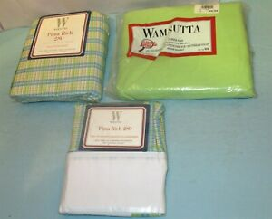 NIP Wamsutta Pima Rich 280 Plaid Full Fitted Sheet Pillowcases & Queen 250 Flat