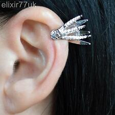 NEW SILVER DRAGON CLAW HAND EAR CLIP EARRING PEWTER CUFF EMO GOTHIC PUNK ROCK UK