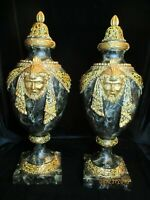 "2 EGYPTIAN MARBLED DESIGN GOLD EGYPTIAN FACES ON FAKE URN STATUE 20 1/2"" TALL"