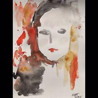 Matt Scalf Abstract Girl Face Portrait ORIGINAL PAINTING Watercolor 9x12 Woman