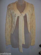bebe S Cardigan Sweater Top Knit Crochet Creme Cream Wrap Scarf Thick Fall EUC
