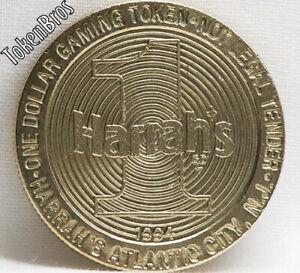 $1 DOLLAR SLOT TOKEN COIN HARRAH'S ATLANTIC CITY CASINO 1994 GDC MINT RARE NEW