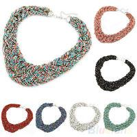 EG_ Fashion Women Boho Style Beads Braid Collar Bib Statement Necklace Jewelry G