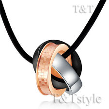 T&T Three Tone Stainless Steel Three Lucky Ring Pendant Necklace (NP144)