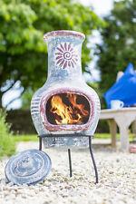 Mexican Clay Chimenea Blue Chiminea Patio Heater Fire Bowl Garden Heater Stove