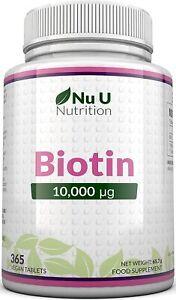 Biotin hochdosiert 10.000 mcg für Haar-Wachstum, kräftige Nägel & gesunde Haut