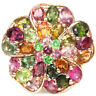 NATURAL AAA MULTI COLOR TOURMALINE STERLING 925 SILVER FLOWER RING SIZE 8.25