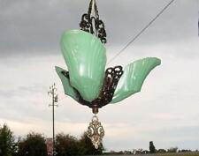 1930s ART DECO GREEN DEPRESSION GLASS CHANDELIER-SLIP SHADE PENDANT CEILING LAMP