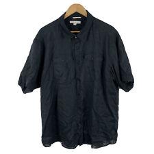 Colorado Mens Linen Button Up Shirt 2XL Black Short Sleeve