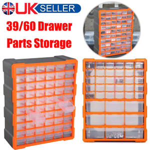 39/60 Drawer Parts Organiser Storage Cabinet Garage Wall Mount Small Nuts Bolts
