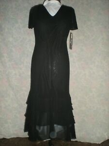 SHERI MARTIN OF NEW YORK - NEW WITH TAGS SZ 12 BLACK V-NECK SHEATH DRESS