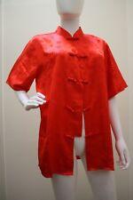 NA'S SILK SHOP KIMONO JACKET FROG CLOSURES MANDARIN COLLAR RED L VTG