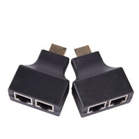Black HDMI Extender to RJ45 Over Cat 5e/6 Network LAN Ethernet Adapter