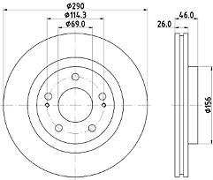 Mitsubishi Grandis Vented Brake Disc Front (Pair) Mintex MDC2494 NEW Free P&P