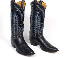 Tony Lama Classic Black Cowboy Boots - Men's 9.5D Patent Leather Square Toe Vtg