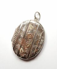 Antique Victorian 925 Silver 1882 Adie & Lovekin Oval Rose Flower Locket 11.4g