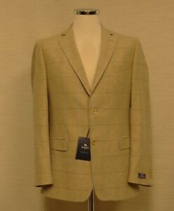 Magee Mens Beige and Blue Check Linen Blend Classic Fit Summer Jacket New